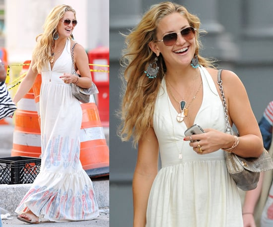 Kate Hudson Strolls NYC in White Lauren Moffatt Halter Maxi Dress