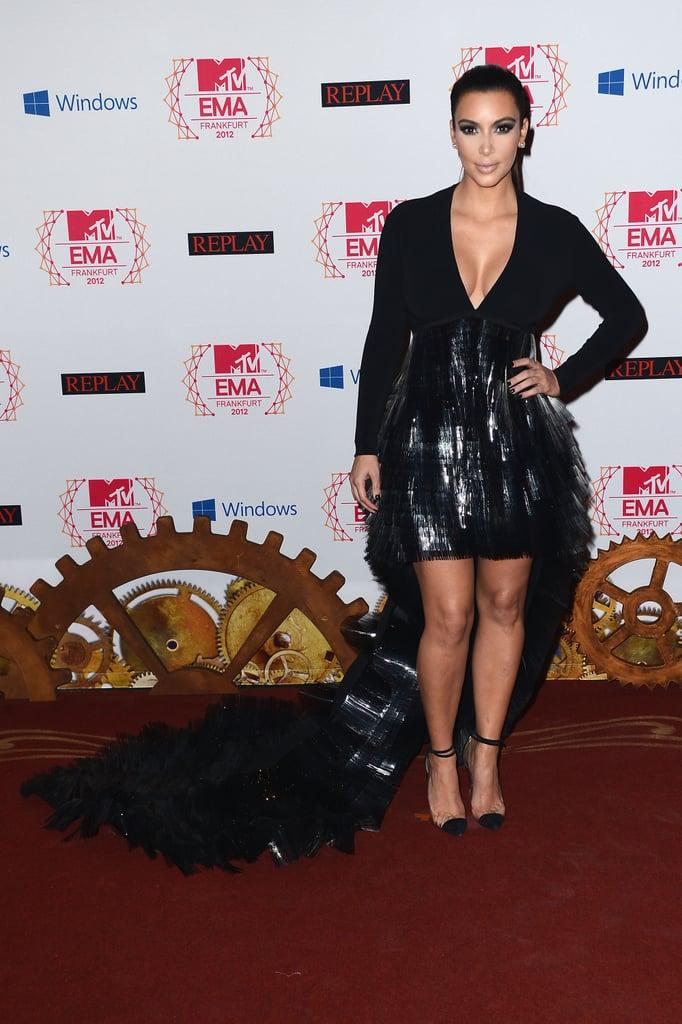 Kim Kardashian wore a black dress at the MTV EMAs in Frankfurt.