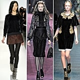 More runway looks highlighting casual velvet tops and ornate embellished dresses. From left to right: Rebecca Taylor, Gucci, D&G
