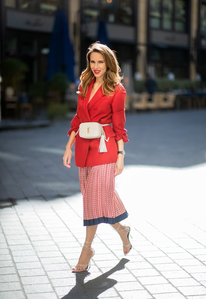 Style a white pair with a red blazer, skirt, and a fannypack.