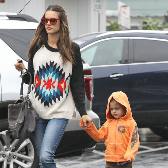 Alessandra Ambrosio With Anja in the Rain in LA