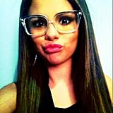 Selena Gomez wore geeky specs for this selfie. Source: Twitter user selenagomez