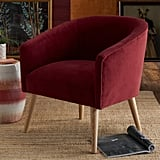 Velvet Barrel Accent Chair