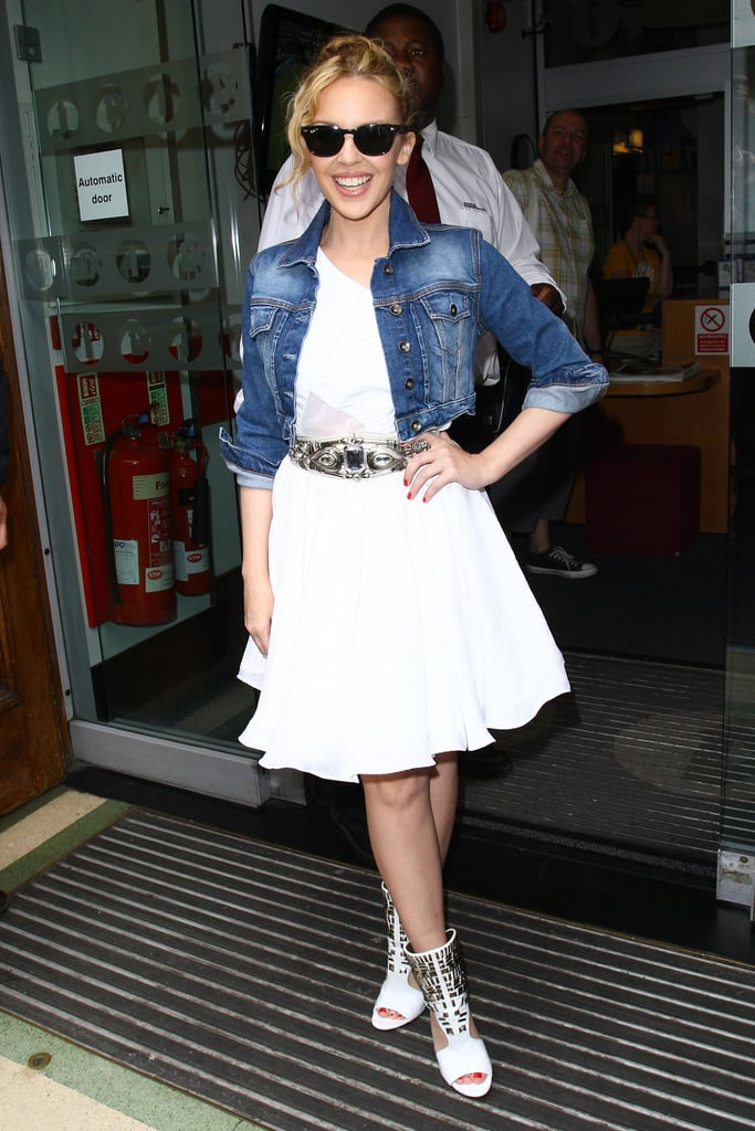 Photos of Kylie Minogue in London wearing a Topshop Denim Jacket and Dress 2010-07-04 19:13:26