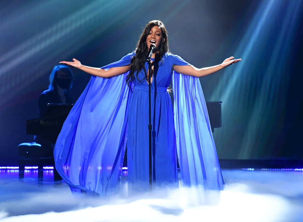 """Mickey Guyton is making history once again! After becoming the first Black woman to ever perform at the ACM Awards last year, the 37-year-old Grammy-nominated singer broke another barrier by becoming the first Black artist to cohost the ceremony alongside Keith Urban. Mickey previously spoke to E! News about the increased inclusivity within the Academy, saying, """"I'm part of the ACM Diversity Task Force . . . We started this in 2019, and they have been relentlessly working on diversifying the awards in front of the camera and behind the scenes. And that is showing up on the awards. And I'm just so excited to be a part of that change.""""  Mickey also took the stage for a stunning performance of her 2019 hit, """"Hold On,"""" and  received a nomination for new female artist of the year, but unfortunately, she lost out to Gabby Barrett. Keep reading to see more of Mickey's historic night at the ACM Awards.      Related:                                                                                                           Carrie Underwood and CeCe Winans Sounded Like Actual Angels in ACM Awards Duet"""