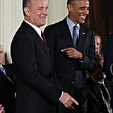 "The Medal of Freedom ceremony, which honors individuals who have made ""especially meritorious contributions to the security or national interests of the United States, to world peace, or to cultural or other significant public or private endeavors,"" also included honoree Tom Hanks."