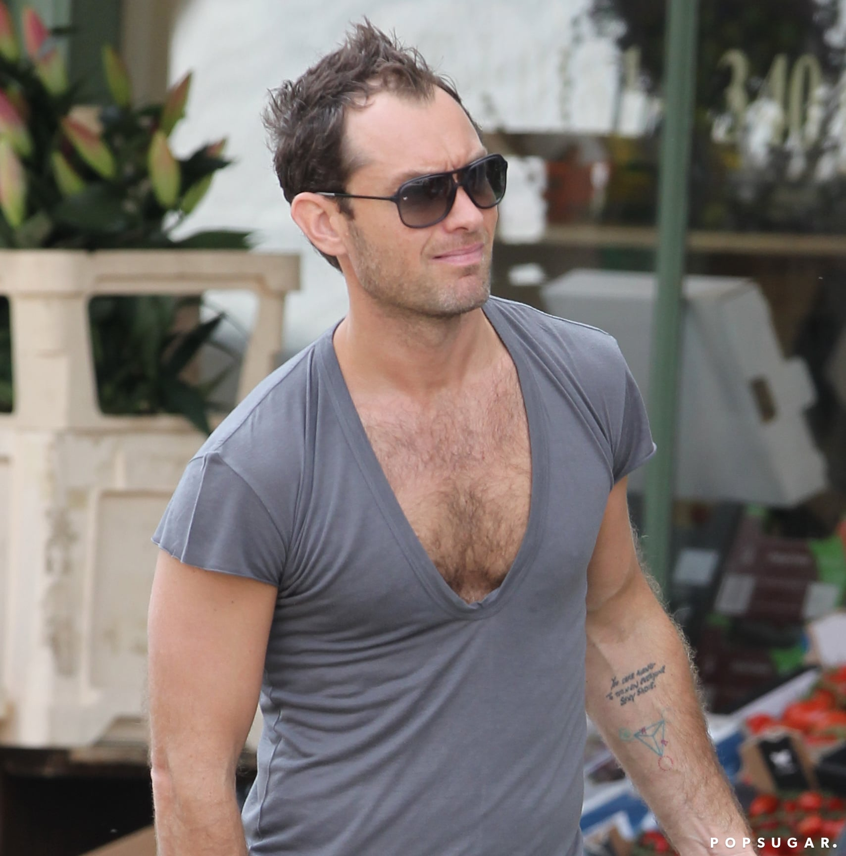 Jude Law Tests the Limits of Tasteful Man Cleavage