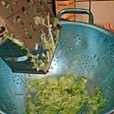 Use a colander to drain the moisture
