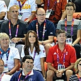 Kate Middleton watched the women's teams synchronized swimming event at the Olympic Games.