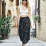 With a Floral Midi Skirt