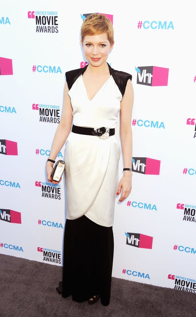 Michelle Williams wore black and white Chanel.