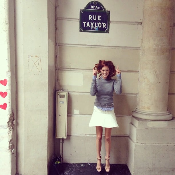 Taylor Tomasi Hill jumped for joy in Paris. Source: Instagram user ttomasihill