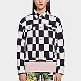 Versus Versace Floral Checkerboard Print Denim Jacket