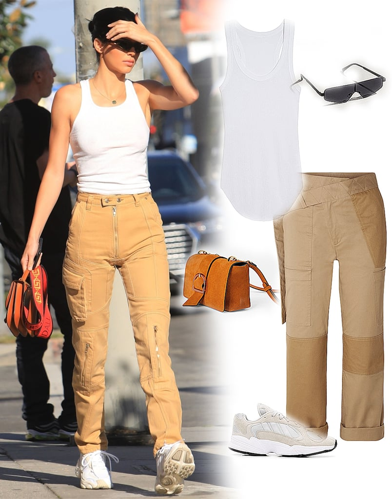 Kendall Jenner Cargo Pants and White Tank Top 2019