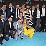 The cast posed with the writers, directors, and producers of the film for one big group photo.