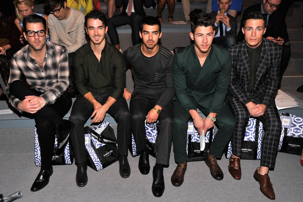Kevin, Joe and Nick Jonas were flanked by Zachary Quinto and Colton Haynes in the front row at Richard Chai's show on Thursday.