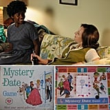 "Mystery Date There was a popular '60s board game that inspired the title of the episode (and had a cameo in a commercial on the show): Mystery Date. It was a board game for girls ages 6 to 14, and there have been several newer versions since the first one came out in 1965 — the year before the one in which the fifth season of Mad Men is set. The object of the board game is to be all dolled up for your romantic rendezvous by getting your hands on three matching cards to put together your outfit, which needs to match your man and the type of date you'll be going on. To find out who your date is, you spin the handle on the ""mystery door"" and open the door to find one of four date options plus a ""dud"" (a disheveled and dirty guy): the formal dance date, the bowling date, the beach date, and the skiing date. If your outfit doesn't match your date's, the play continues to the next player."