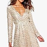 Bohoo Sara Sequin Wrap Dress