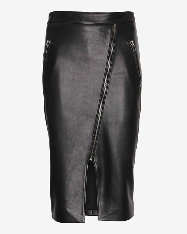 Mason by Michelle Mason Slit Leather Skirt