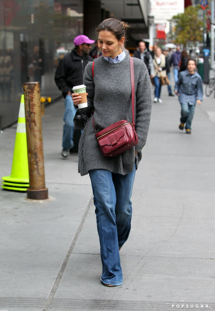 Katie Holmes grabbed a coffee from Bouchon Bakery.