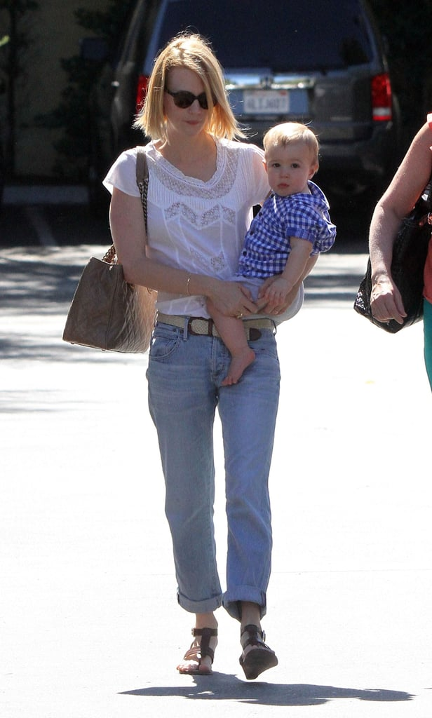 January Jones gave her little man, Xander Jones, a lift yesterday as they stopped for lunch at Houston's in Pasadena. January kept it casual in loose-fitting jeans, while Xander was too cute in his blue plaid shirt. January's casual attire was a departure from her formal appearance at Chanel's anniversary celebration in NYC just last week. January wore Chanel on the red carpet, where she met up with Blake Lively, Diane Kruger, Elle Fanning, and more. January has a bit of downtime to hang with her son and famous friends before she returns to the small screen early next year for Mad Men's sixth season, as well as the big screen for her latest movie role, Sweetwater.