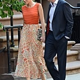 Blake, as Serena, hit the streets with new castmember Barry Watson in the ultimate Summer-perfect attire. The elements — think embellishments, sheer florals, and studded accents — came together perfectly. To be exact, the starlet wore an Alice + Olivia orange beaded top, a floral Haute Hippie maxi skirt, and Christian Louboutin turquoise Bollywood peep-toe pumps. Here's an easy guide to emulating Blake's orange-hued ensemble.