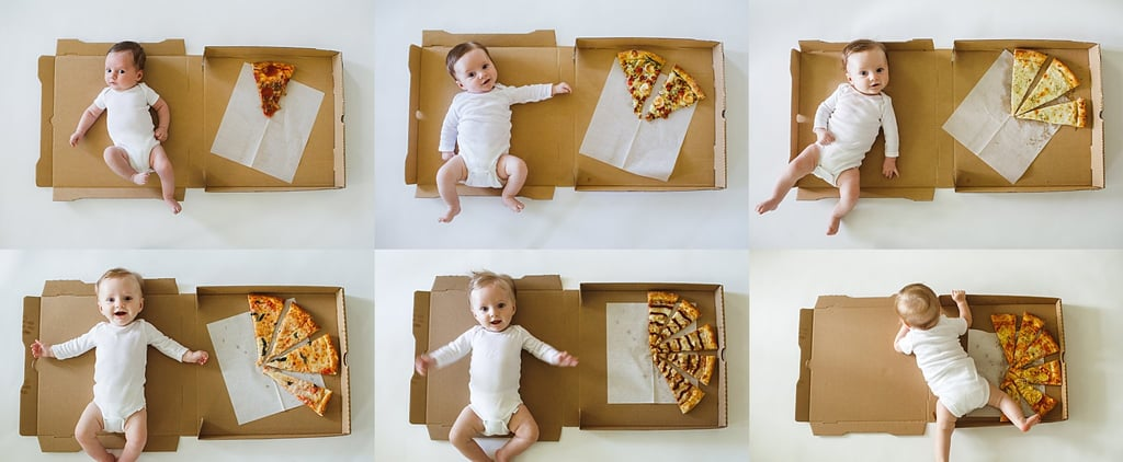 Baby's Monthly Milestone Photos With Pizza Slices