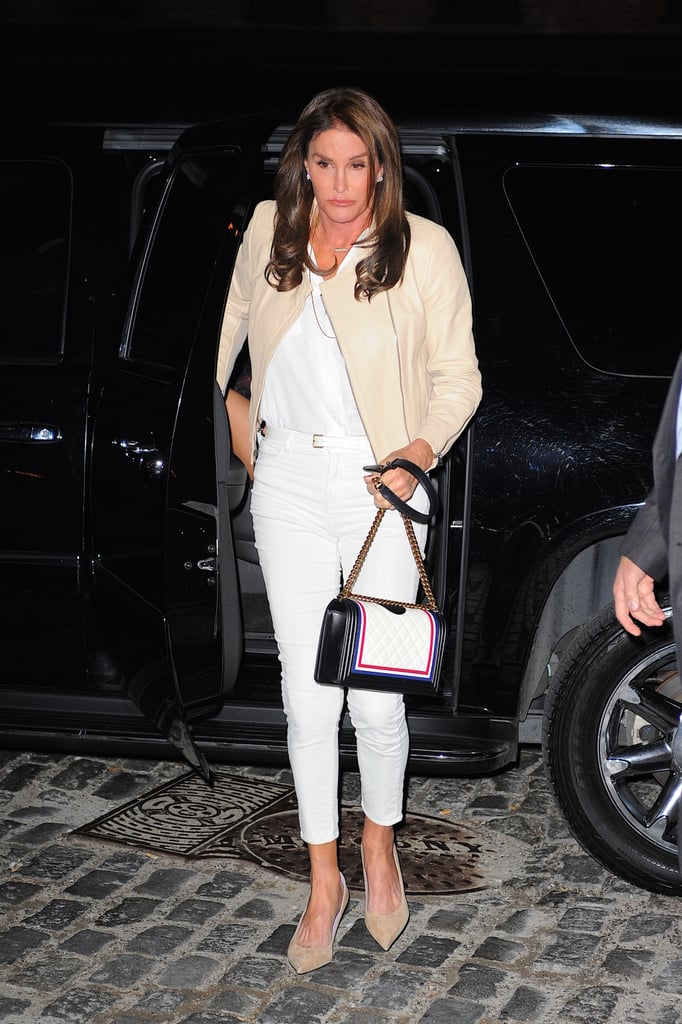 Caitlyn's second chic outfit included a white tee tucked into cropped skinnies, a buttery leather moto jacket, and taupe pumps to match.