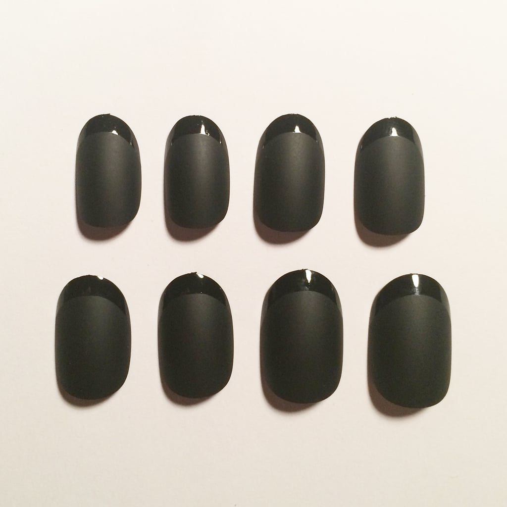 Glam by Manicare French Matt Black Almond Nails, $14.95