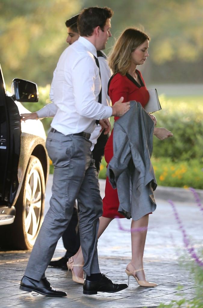 John Krasinski and Emily Blunt arrived together.