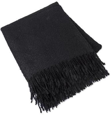 Ultra Soft Baby Alpaca Blend Throw Solid Black Boucle Style ($376)