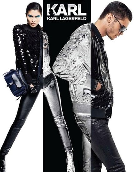 Slick black and silver combos rule for Karl by Karl Lagerfeld.