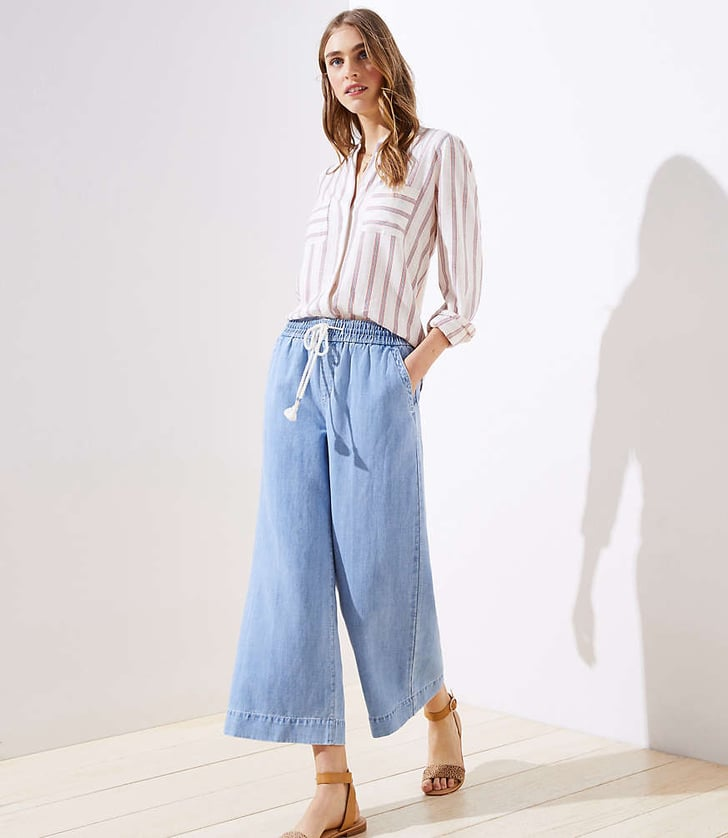 Loft Cotton Linen Drawstring Wide Leg Crop Pants Best