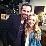 Boy Meets World star Rider Strong posed with Girl Meets World cast member Carpenter on the set. Source: Twitter user SabrinaAnnLynn