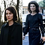 Natalie Portman Wearing Jackie Kennedy's Black Trench