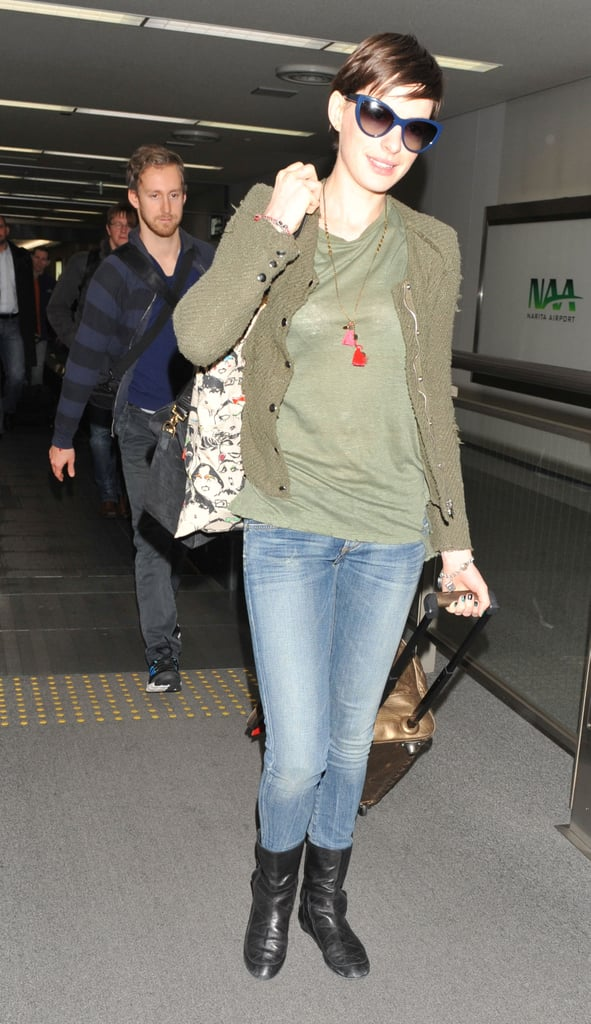 Anne Hathaway landed in Tokyo.