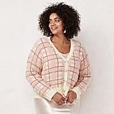 LC Lauren Conrad Plus Size Plaid Button Down Cardigan