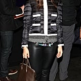 Margherita Missoni in a cropped puff coat and leather skinnies at the Moncler presentation.