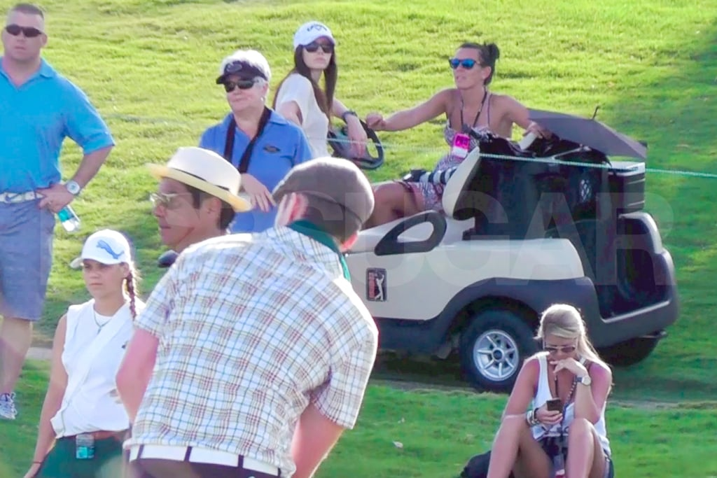 Jessica Biel walked toward her golf cart.