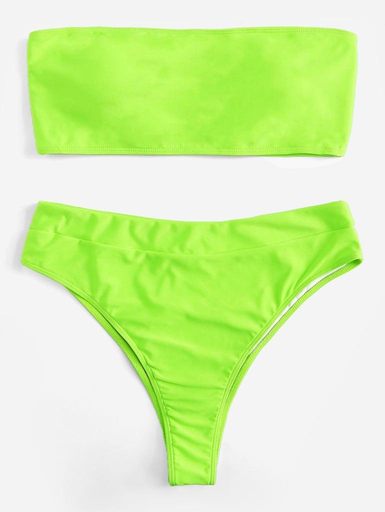 5960f59250 Shein Plus Neon Lime Bandeau With High Leg Bikini | Kylie Jenner's ...