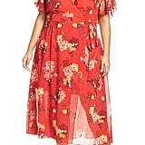 Vince Camuto Smocking & Ruffles Chiffon Maxi Dress
