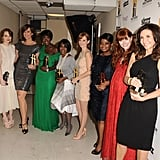 Emma Stone, Allison Janney, Viola Davis, Cicely Tyson, Ahna O'Reilly, Octavia Spencer, Bryce Dallas Howard, and Mary Steenburgen posed with their Hollywood Ensemble Acting award.