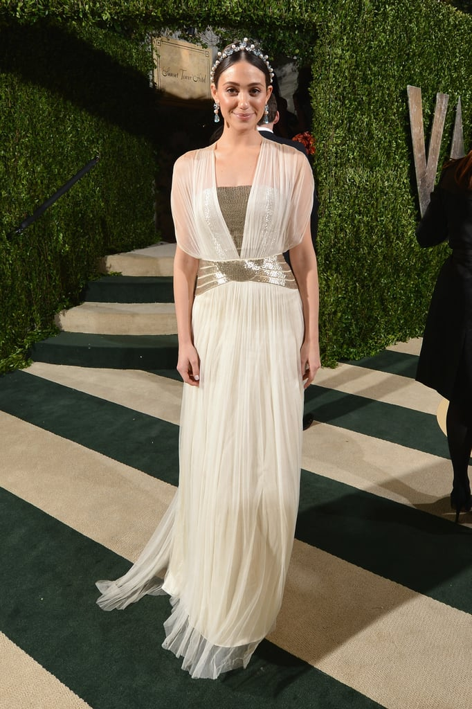 Emmy Rossum arrived at the Vanity Fair Oscar party on Sunday night ...