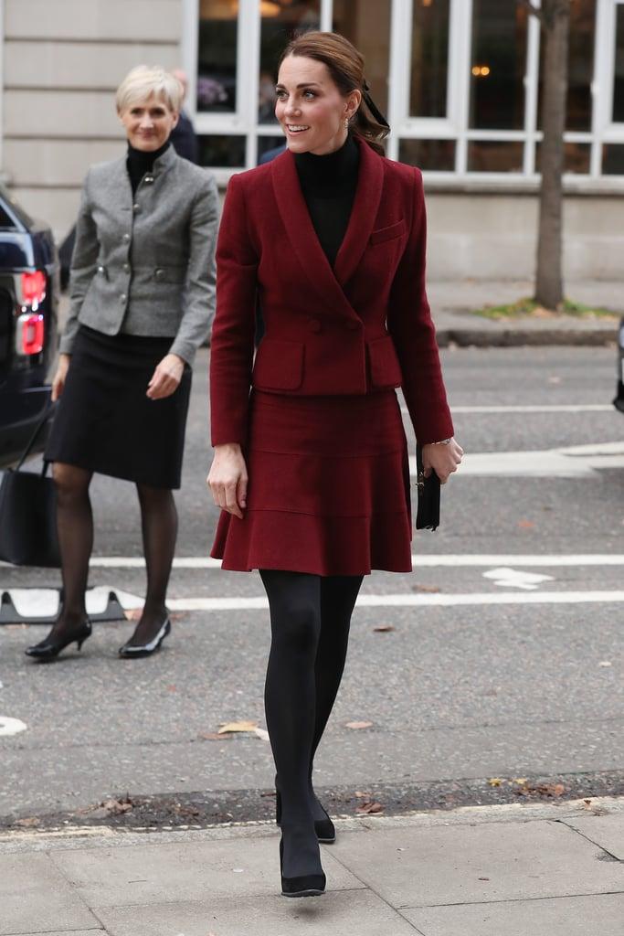 Kate Middleton Burgundy Skirt Suit November 2018