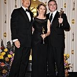 Pictures of Oscar Winners Natalie Portman, Colin Firth, Christian Bale, and Melissa Leo in the 2011 Academy Awards Press Room 2011-02-28 06:56:38
