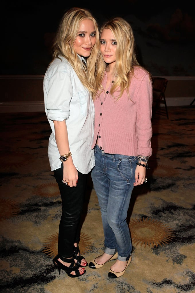 Twinning combo: The girls donned borrowed-from-the-boys looks for an April 2011 Textile Elizabeth and James event in Beverly Hills.  Mary-Kate toned down her black leather pants with a chambray button-down. Ashley styled her Textile Elizabeth and James boyfriend jeans with a cozy pink cardigan and cap-toe ballet flats.