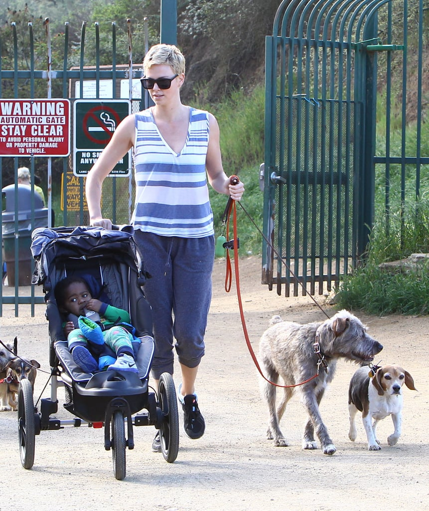 Charlize Theron took a family stroll with her dogs and son Jackson at Runyon Canyon park in LA on Friday.