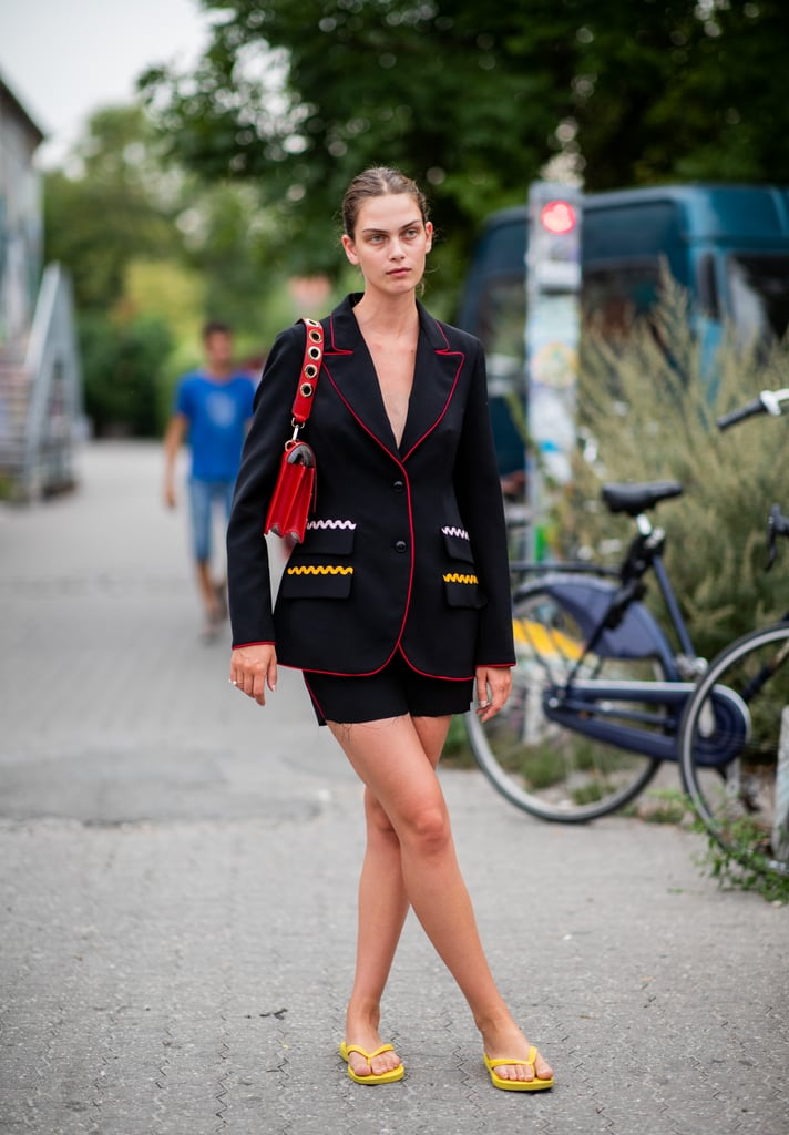 Styling a skirt suit with a yellow pair.