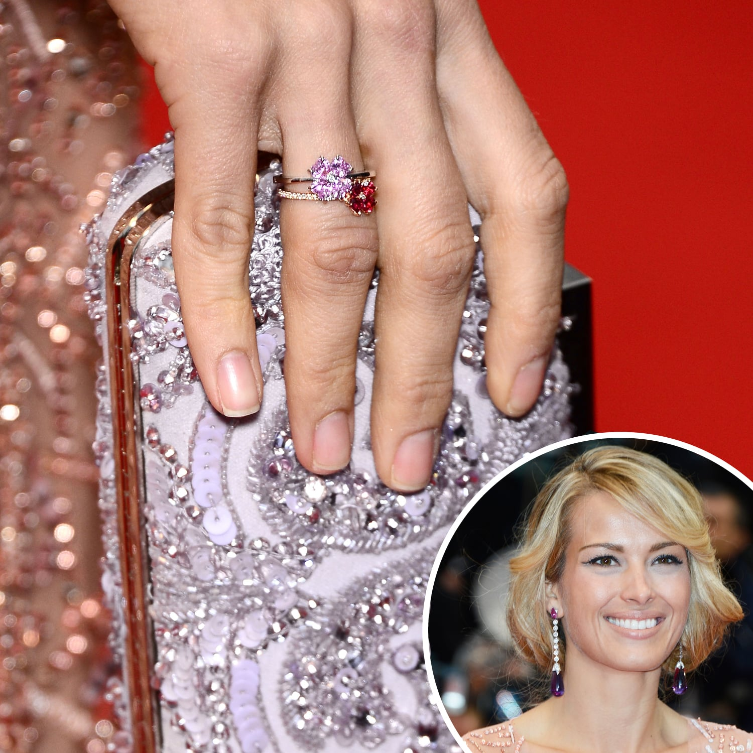 Matching her manicure to her dress, Petra Nemcova painted her nails a pale pink at the premiere of All Is Lost.