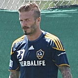 David Beckham sported heavier-than-usual facial hair.